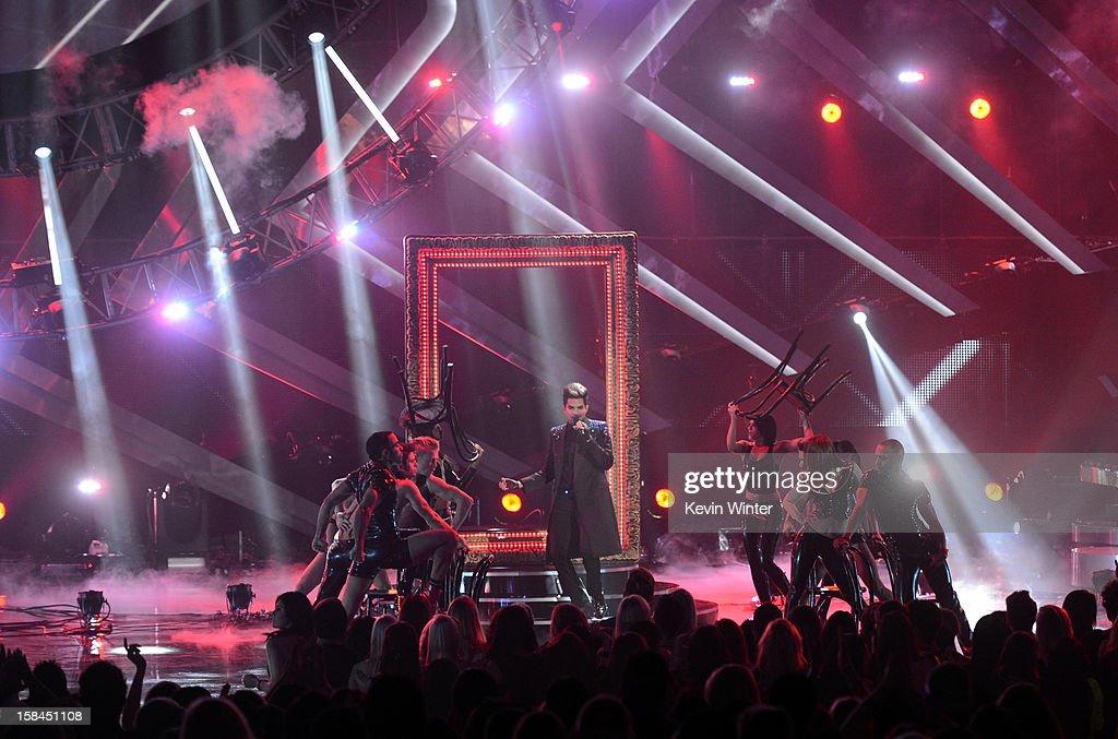 Host Adam Lambert performs onstage during 'VH1 Divas' 2012 at The Shrine Auditorium on December 16, 2012 in Los Angeles, California.