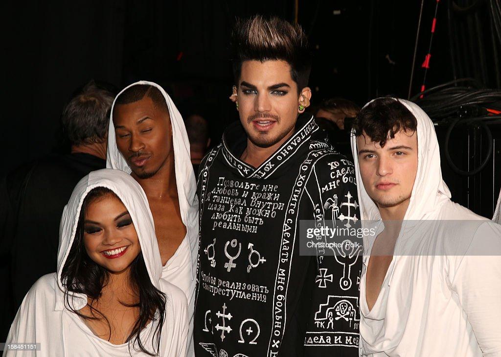Host Adam Lambert poses onstage during 'VH1 Divas' 2012 at The Shrine Auditorium on December 16, 2012 in Los Angeles, California.