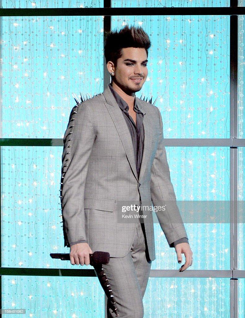 Host Adam Lambert speaks onstage during 'VH1 Divas' 2012 at The Shrine Auditorium on December 16, 2012 in Los Angeles, California.