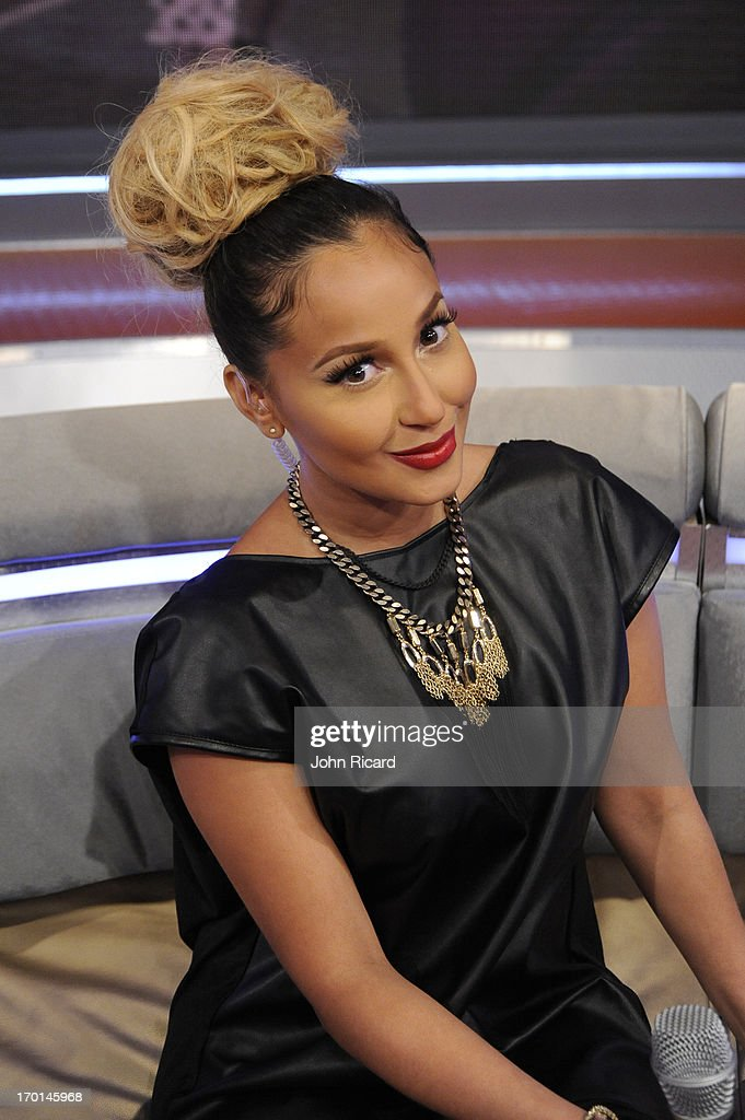 Host <a gi-track='captionPersonalityLinkClicked' href=/galleries/search?phrase=Adrienne+Bailon&family=editorial&specificpeople=540286 ng-click='$event.stopPropagation()'>Adrienne Bailon</a> at BET's '106 & Park' at BET Studios on June 5, 2013 in New York City.