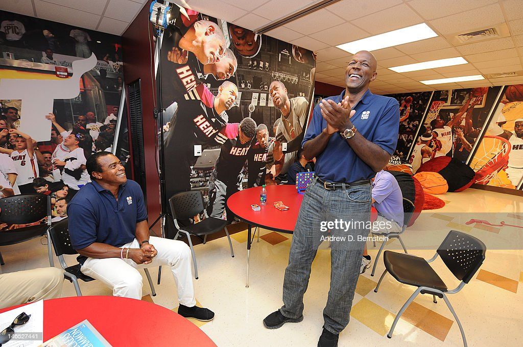 Host <a gi-track='captionPersonalityLinkClicked' href=/galleries/search?phrase=Ahmad+Rashad&family=editorial&specificpeople=228301 ng-click='$event.stopPropagation()'>Ahmad Rashad</a> and NBA Legend <a gi-track='captionPersonalityLinkClicked' href=/galleries/search?phrase=Clyde+Drexler&family=editorial&specificpeople=208989 ng-click='$event.stopPropagation()'>Clyde Drexler</a> attend the unveiling of the NBA Cares Learn and Play Center at the Miami Springs Community Center presented by HP and State Farm on June 18, 2012 in MIami, Florida.