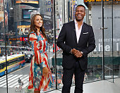 Host AJ Calloway interviews Miss USA 2014 Nia Sanchez during her visit to 'Extra' at their New York studios at HM in Times Square on June 11 2014 in...