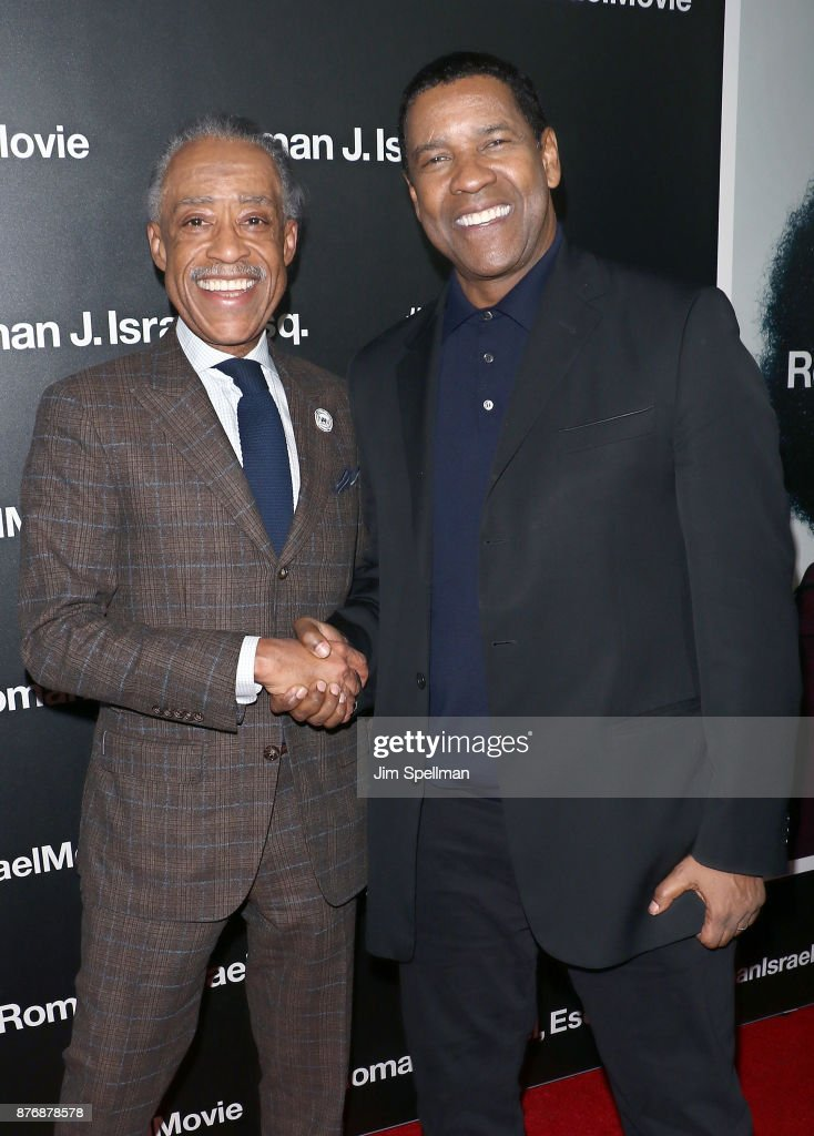 TV host Al Sharpton and actor Denzel Washington attend the'Roman J Israel Esquire' New York premiere at Henry R. Luce Auditorium at Brookfield Place on November 20, 2017 in New York City.