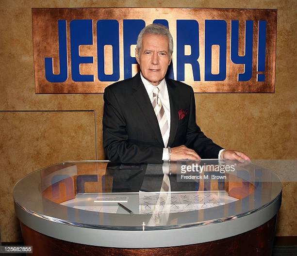 Host Alex Trebek poses on the set at Sony Pictures for the 28th Season Premiere of the television show 'Jeopardy' on September 20 2011 in Culver City...