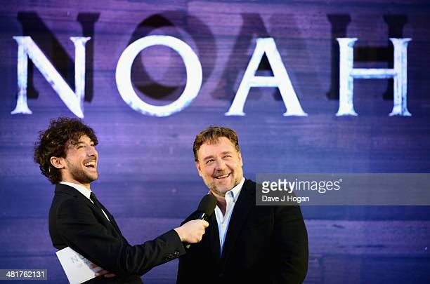 Host Alex Zane speaks with actor Russell Crowe as he attends the UK Premiere of 'Noah' at the Odeon Leicester Square on March 31 2014 in London...