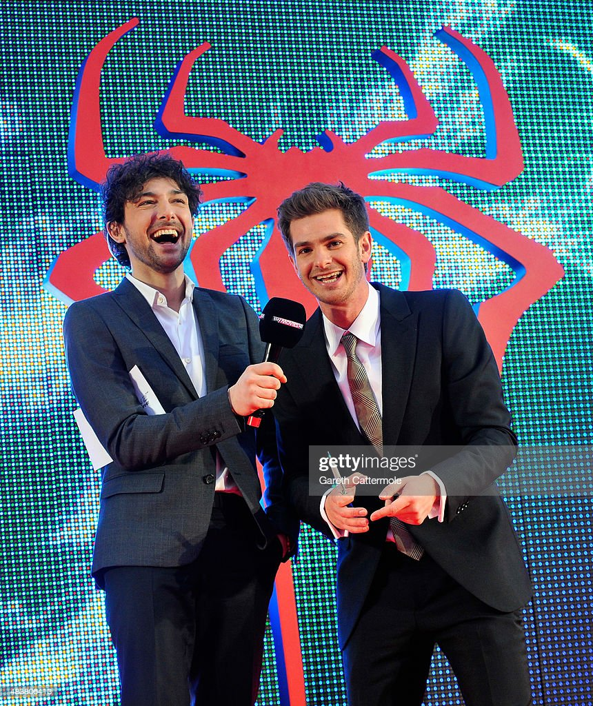 Host <a gi-track='captionPersonalityLinkClicked' href=/galleries/search?phrase=Alex+Zane&family=editorial&specificpeople=227464 ng-click='$event.stopPropagation()'>Alex Zane</a> with actor <a gi-track='captionPersonalityLinkClicked' href=/galleries/search?phrase=Andrew+Garfield&family=editorial&specificpeople=4047840 ng-click='$event.stopPropagation()'>Andrew Garfield</a> as he attends 'The Amazing Spider-Man 2' world premiere at the Odeon Leicester Square on April 10, 2014 in London, England.