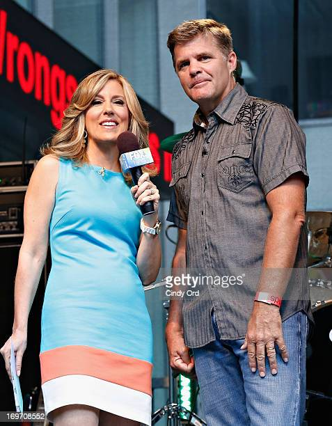 Host Alisyn Camerota interviews singer Richie McDonald of the band Lonestar during 'FOX Friends' All American Concert Series outside of FOX Studios...