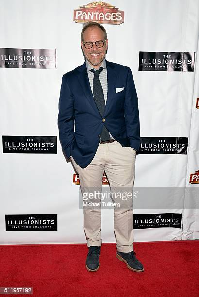 Host Alton Brown attends the premiere of 'The Illusionists Live From Broadway' at the Pantages Theatre on February 23 2016 in Hollywood California