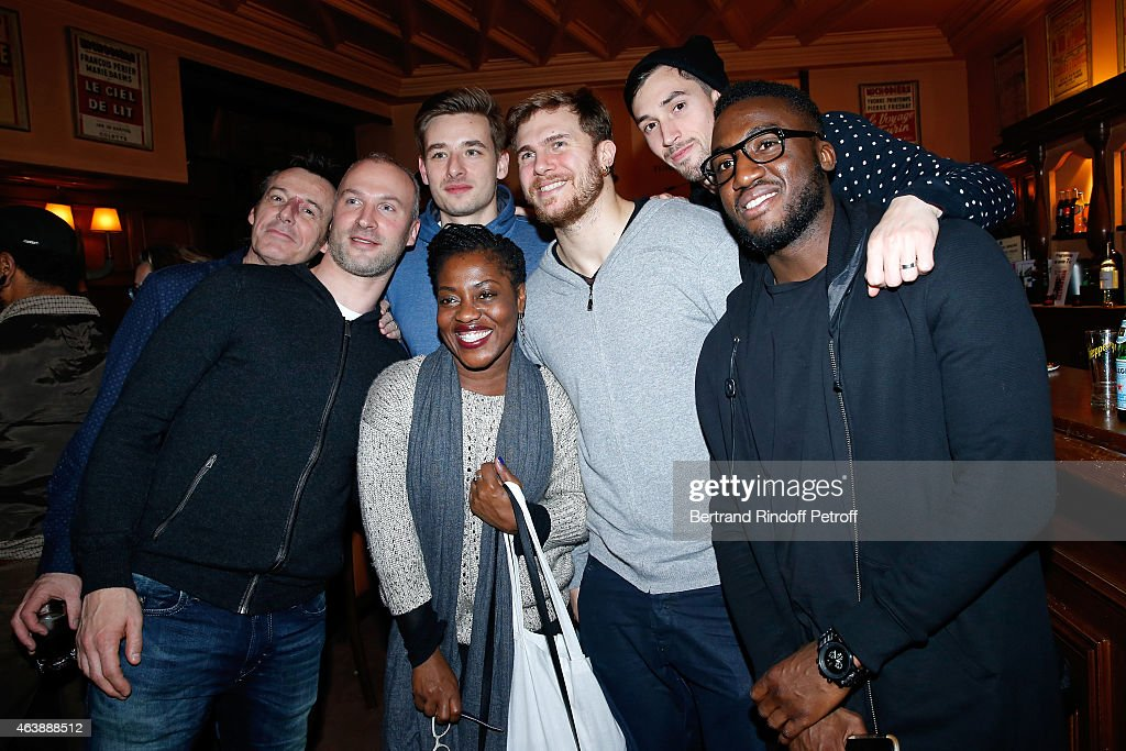 TV Host and actor Jean-Luc Reichmann, Goal Keeper Thierry Omeyer, player Xavier Barachet, Humorist Claudia Tagbo, players William Accambray, Samuel Honrubia, Luc Abalo attend Handball World Champion 2015, France Handball Team, is Guest of Honor at Hibernatus Theater Play on February 19, 2015 in Paris, France.