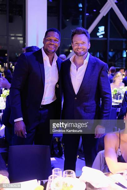 "Host and actor Michael Strahan and actor and comedian Joel McHale attend the exclusive gala event ""For the Love of Cinema"" during the Tribeca Film..."