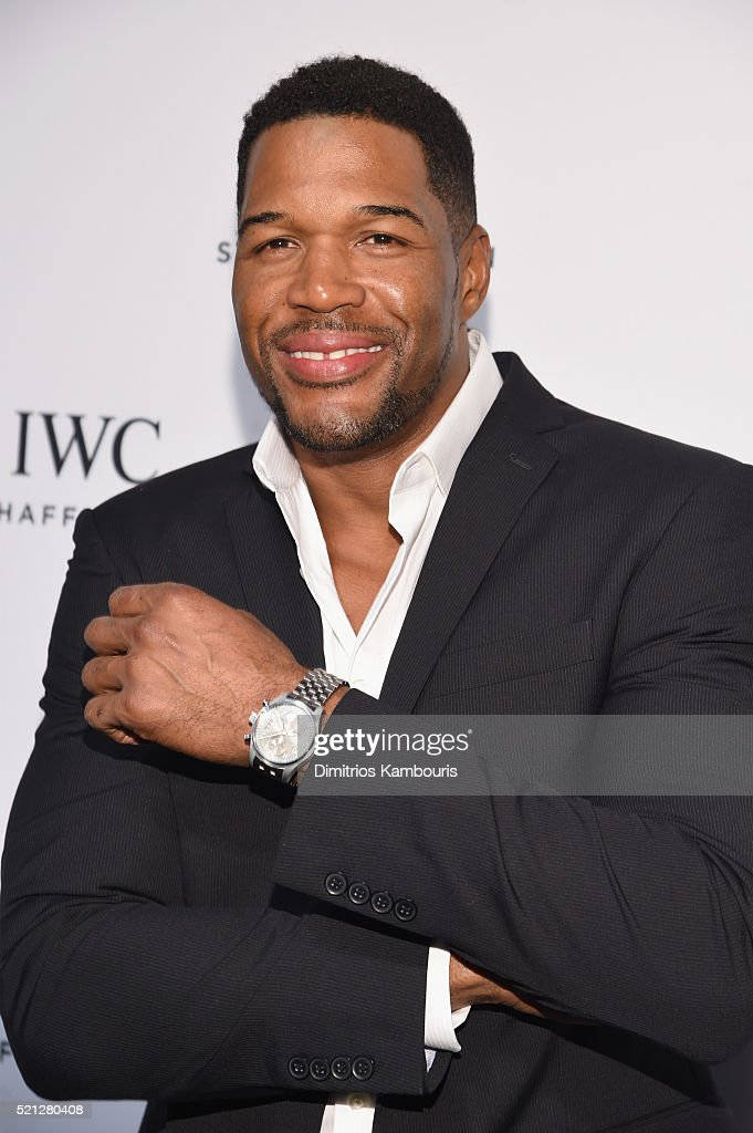 """TV Host and Actor <a gi-track='captionPersonalityLinkClicked' href=/galleries/search?phrase=Michael+Strahan&family=editorial&specificpeople=210563 ng-click='$event.stopPropagation()'>Michael Strahan</a> attends the exclusive gala event """"For the Love of Cinema"""" during the Tribeca Film Festival hosted by luxury watch manufacturer IWC Schaffhausen on April 14, 2016 in New York City."""