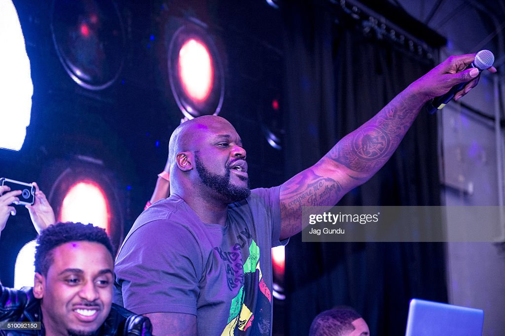 Host and Celebrity DJ Shaquille O'Neal attends Bounce Sporting Club Presents The VIP Lounge At MAXIM's All Star Party on February 12 2016 in Toronto...