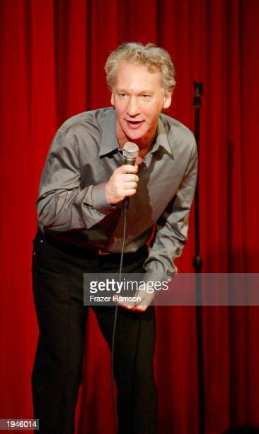 Host and comedian Bill Maher performs on stage at the Comedy Store for a one night only stand up show on April 23 2003 in Hollywood California
