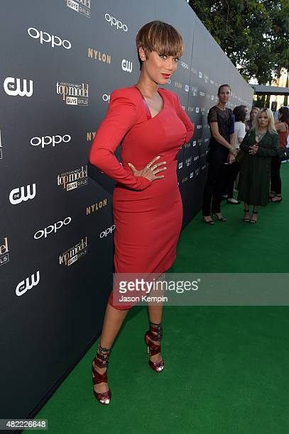 Host and Creator Tyra Banks attends the 'America's Next Top Model' Cycle 22 Premiere Party presented by OPPO and NYLON on July 28 2015 in West...