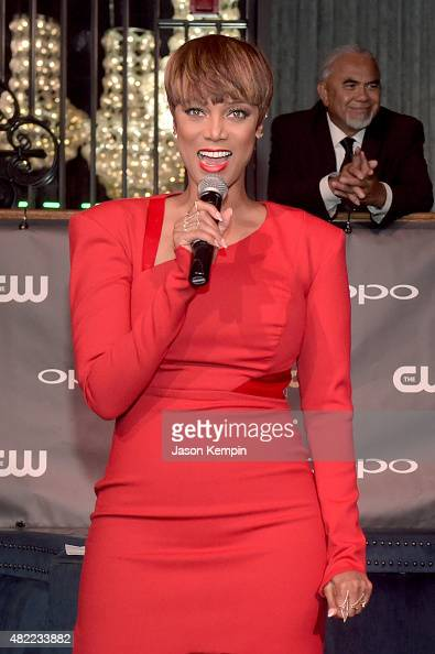 Host and Creator Tyra Banks speaks onstage during the 'America's Next Top Model' Cycle 22 Premiere Party presented by OPPO and NYLON on July 28 2015...