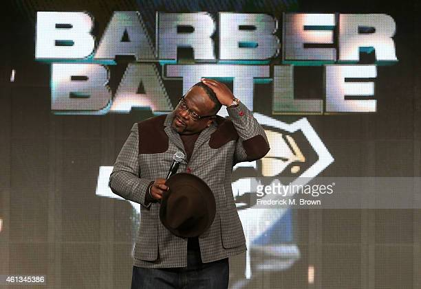 Host and Executive Producer Cedric The Entertainer speaks onstage during the 'Cedric's Barber Battle' panel as part of The CW 2015 Winter Television...