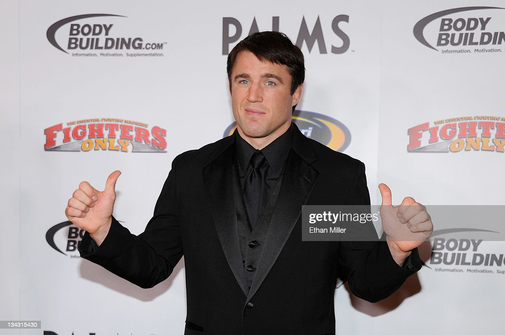 Host and mixed martial artist <a gi-track='captionPersonalityLinkClicked' href=/galleries/search?phrase=Chael+Sonnen&family=editorial&specificpeople=5434559 ng-click='$event.stopPropagation()'>Chael Sonnen</a> arrives at the Fighters Only World Mixed Martial Arts Awards 2011 at the Palms Casino Resort November 30, 2011 in Las Vegas, Nevada.