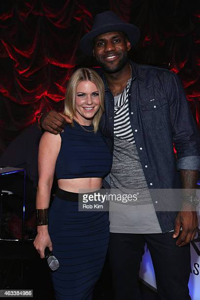 Host and TV personality Carrie Keagan and basketball player LeBron James pose for a photo during the NBA AllStar AllStyle presented by Samsung Galaxy...