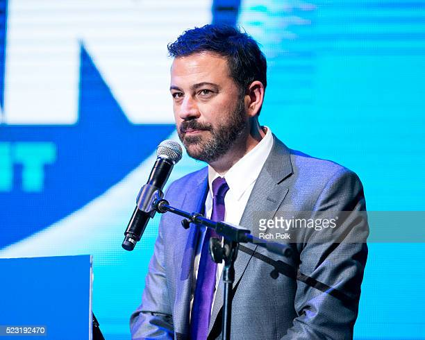 Host and TV personality Jimmy Kimmel speaks on stage at the Keep It Clean Comedy Benefit for Waterkeeper Alliance at Avalon on April 21 2016 in...
