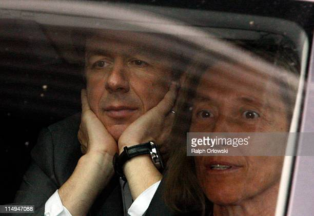 TV host and weather expert Joerg Kachelmann and his lawyer Andrea Combe leave the court house on May 31 2011 in Mannheim Germany Swiss citizen...