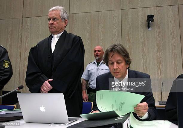 TV host and weather expert Joerg Kachelmann and his new lawyer Johann Schwenn wait for the beginning of day sixteen of the trial against Kachelmann...