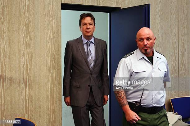 TV host and weather expert Joerg Kachelmann arrives for day 38 of his trial on May 2 2011 in Mannheim Germany Swiss citizen Joerg Kachelmann is...