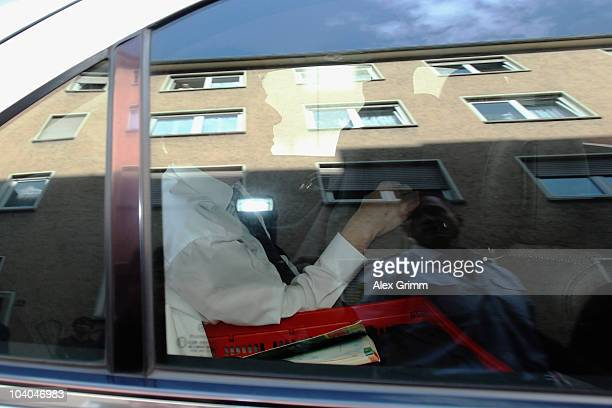 TV host and weather expert Joerg Kachelmann leaves the garage of the building after day two of his trial at the district court Mannheim on September...