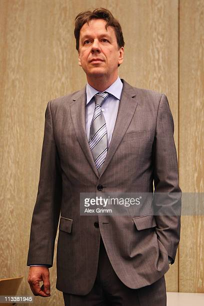 TV host and weather expert Joerg Kachelmann waits for the beginning of day 38 of his trial on May 2 2011 in Mannheim Germany Swiss citizen Joerg...