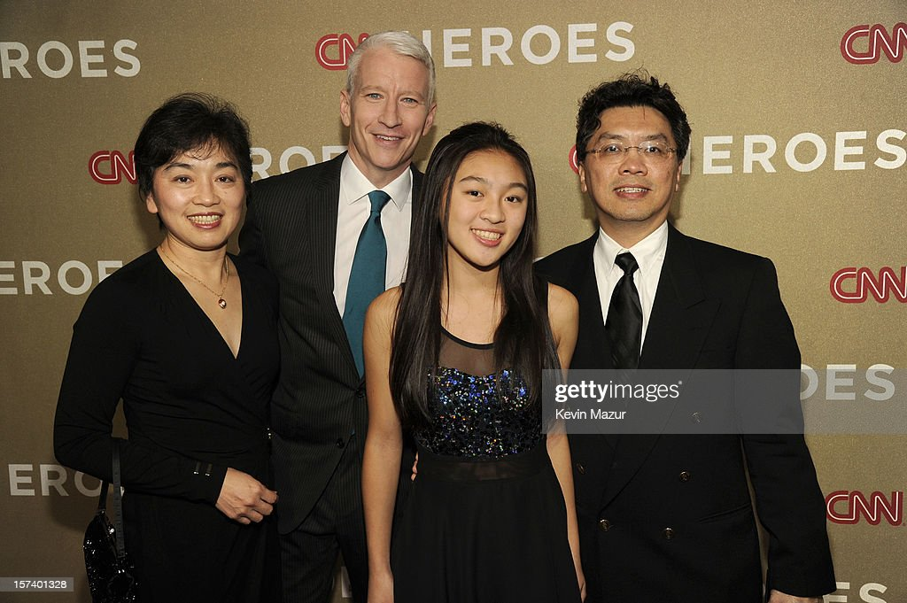 Host Anderson Cooper (2nd from L), Young Wonders honoree Cassandra Lin (3rd from L) and guests attend the CNN Heroes: An All Star Tribute at The Shrine Auditorium on December 2, 2012 in Los Angeles, California. 23046_004_KM_0634.JPG