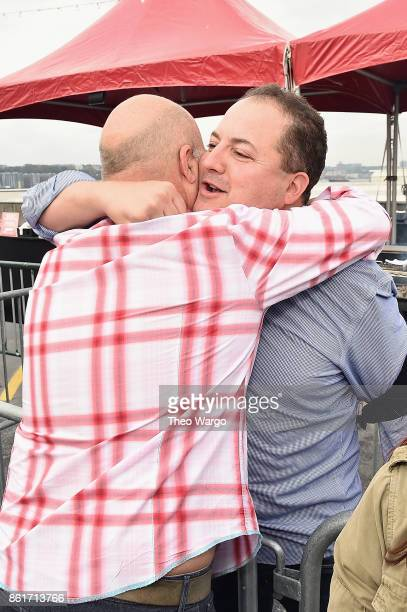 Host Andrew Zimmern and chef Josh Capon attend at the Food Network Cooking Channel New York City Wine Food Festival Presented By CocaCola CocaCola...