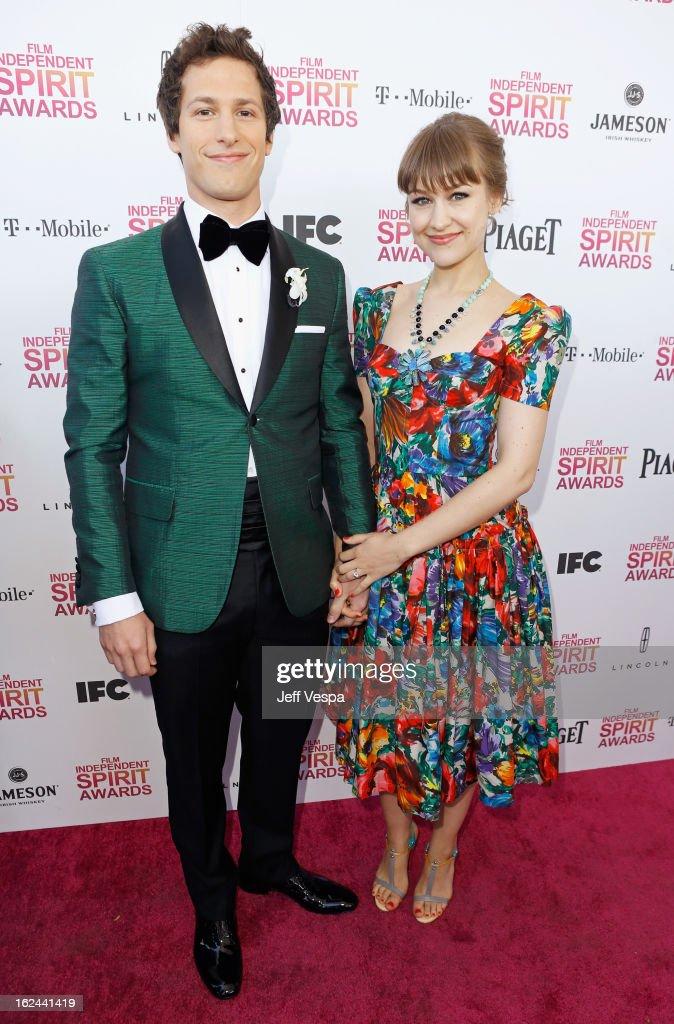 Host Andy Samberg and Joanna Newsom attend the 2013 Film Independent Spirit Awards at Santa Monica Beach on February 23 2013 in Santa Monica...