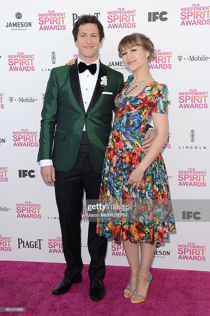 Host Andy Samberg and musician Joanna Newsom attend the 2013 Film Independent Spirit Awards at Santa Monica Beach on February 23 2013 in Santa Monica...