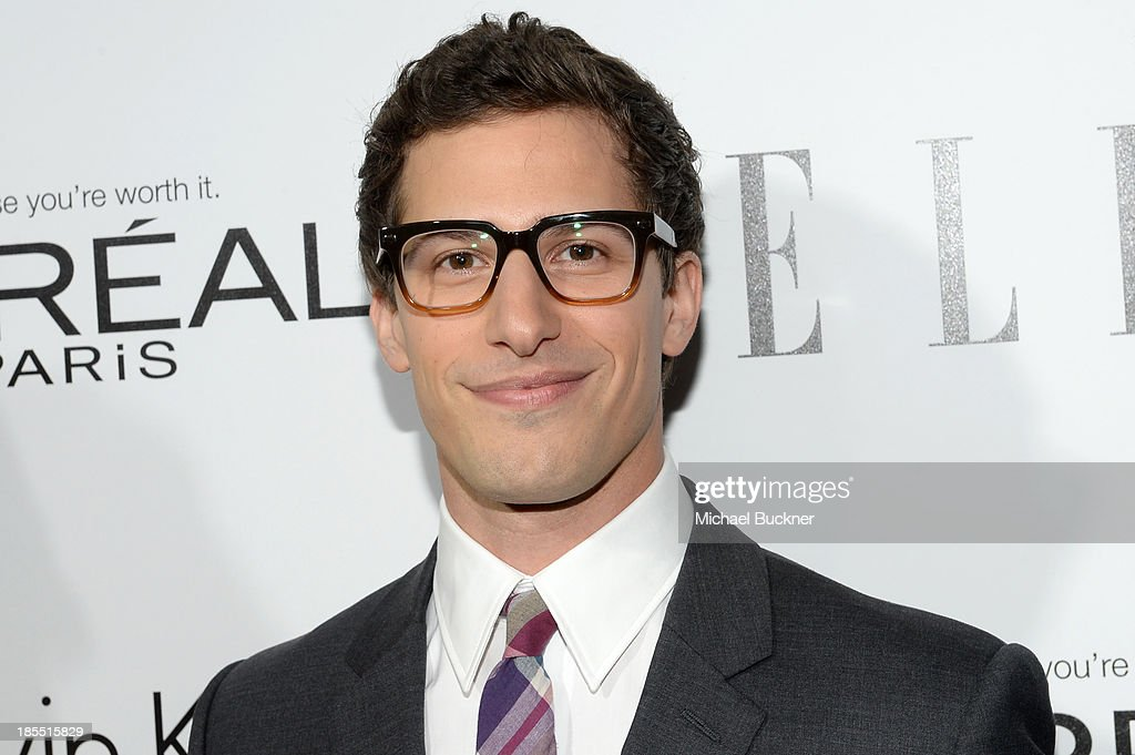 Host <a gi-track='captionPersonalityLinkClicked' href=/galleries/search?phrase=Andy+Samberg&family=editorial&specificpeople=595651 ng-click='$event.stopPropagation()'>Andy Samberg</a> attends ELLE's 20th Annual Women In Hollywood Celebration at Four Seasons Hotel Los Angeles at Beverly Hills on October 21, 2013 in Beverly Hills, California.
