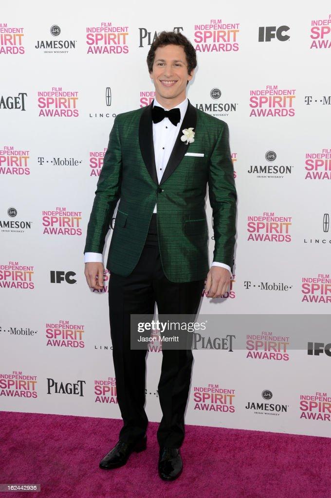 Host Andy Samberg attends the 2013 Film Independent Spirit Awards at Santa Monica Beach on February 23 2013 in Santa Monica California
