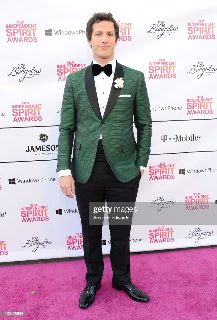 Host <a gi-track='captionPersonalityLinkClicked' href=/galleries/search?phrase=Andy+Samberg&family=editorial&specificpeople=595651 ng-click='$event.stopPropagation()'>Andy Samberg</a> attends the 2013 Film Independent Spirit Awards after party at The Bungalow at The Fairmont Hotel on February 23, 2013 in Santa Monica, California.
