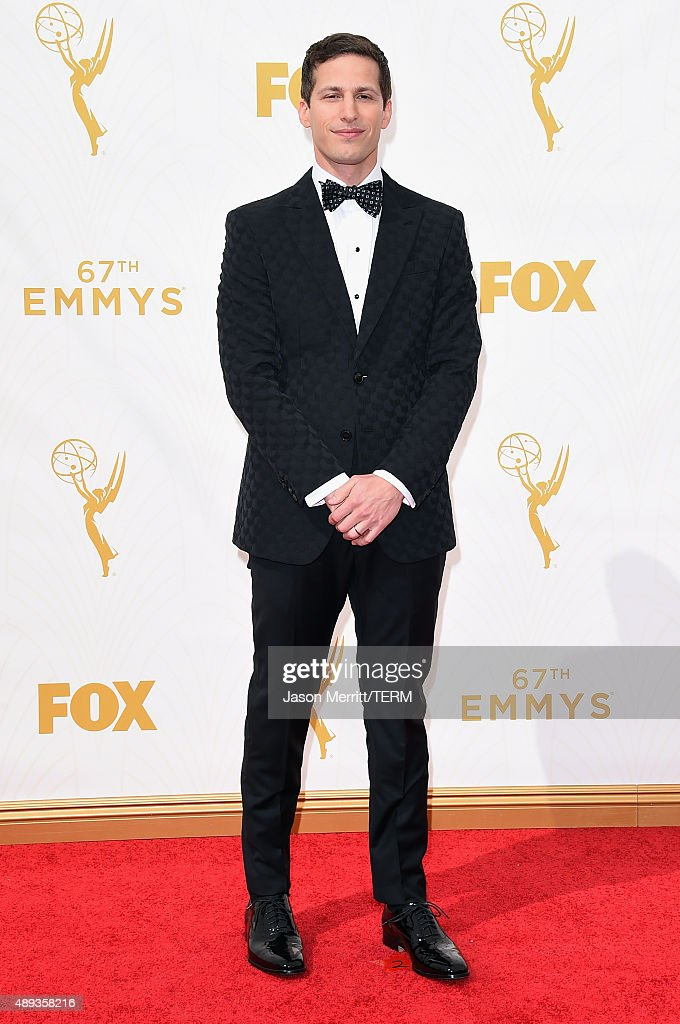 Host <a gi-track='captionPersonalityLinkClicked' href=/galleries/search?phrase=Andy+Samberg&family=editorial&specificpeople=595651 ng-click='$event.stopPropagation()'>Andy Samberg</a> attends the 67th Annual Primetime Emmy Awards at Microsoft Theater on September 20, 2015 in Los Angeles, California.