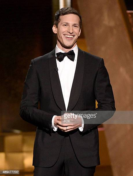Host Andy Samberg onstage during the 67th Annual Primetime Emmy Awards at Microsoft Theater on September 20 2015 in Los Angeles California