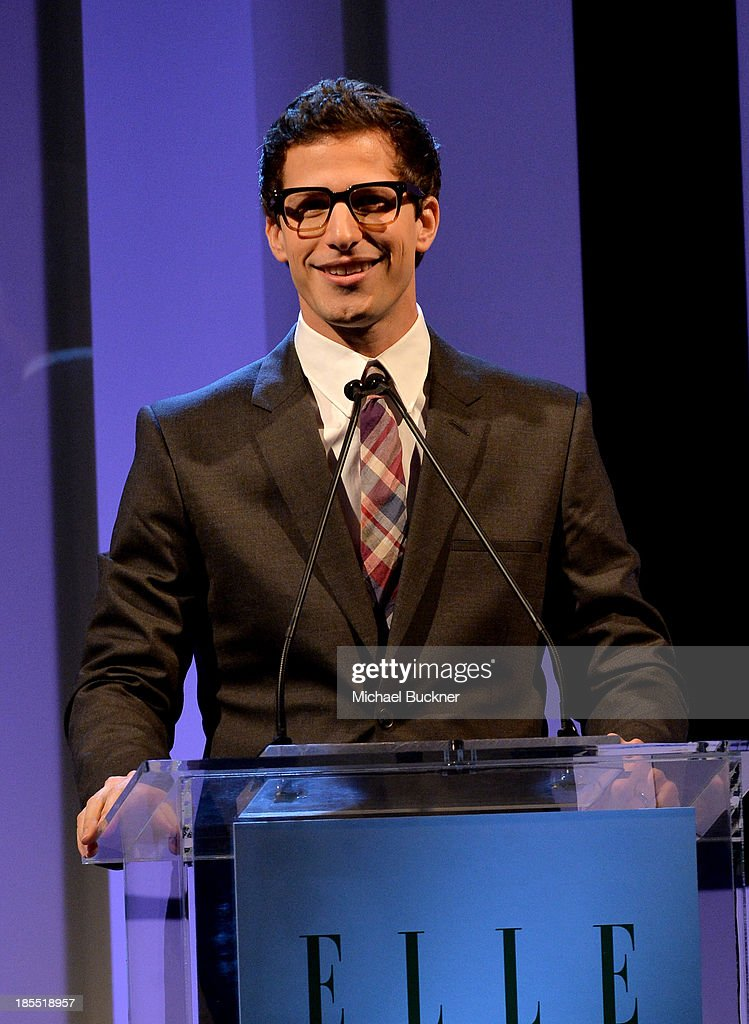 Host <a gi-track='captionPersonalityLinkClicked' href=/galleries/search?phrase=Andy+Samberg&family=editorial&specificpeople=595651 ng-click='$event.stopPropagation()'>Andy Samberg</a> speaks onstage at ELLE's 20th Annual Women In Hollywood Celebration at Four Seasons Hotel Los Angeles at Beverly Hills on October 21, 2013 in Beverly Hills, California.