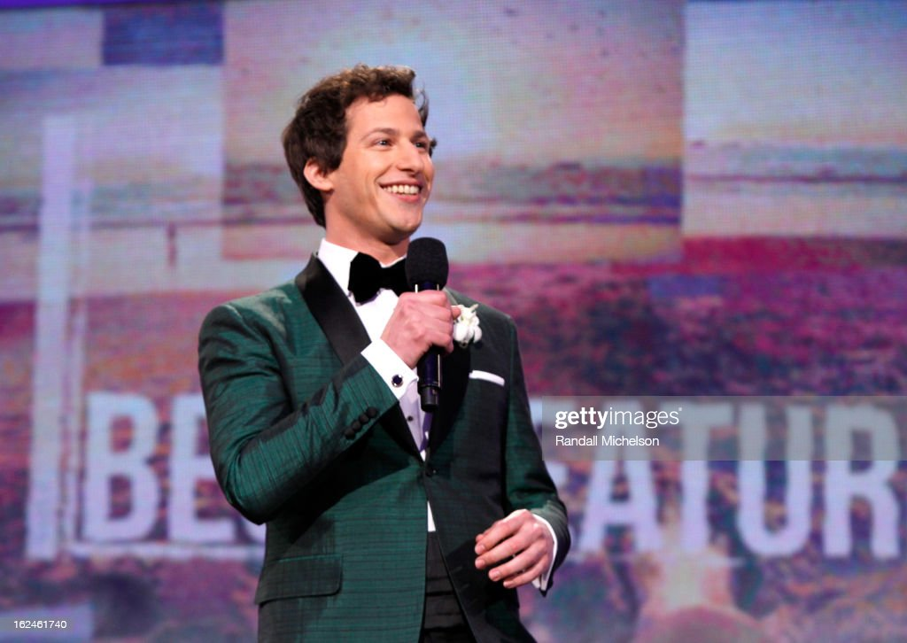 Host <a gi-track='captionPersonalityLinkClicked' href=/galleries/search?phrase=Andy+Samberg&family=editorial&specificpeople=595651 ng-click='$event.stopPropagation()'>Andy Samberg</a> speaks onstage during the 2013 Film Independent Spirit Awards at Santa Monica Beach on February 23, 2013 in Santa Monica, California.