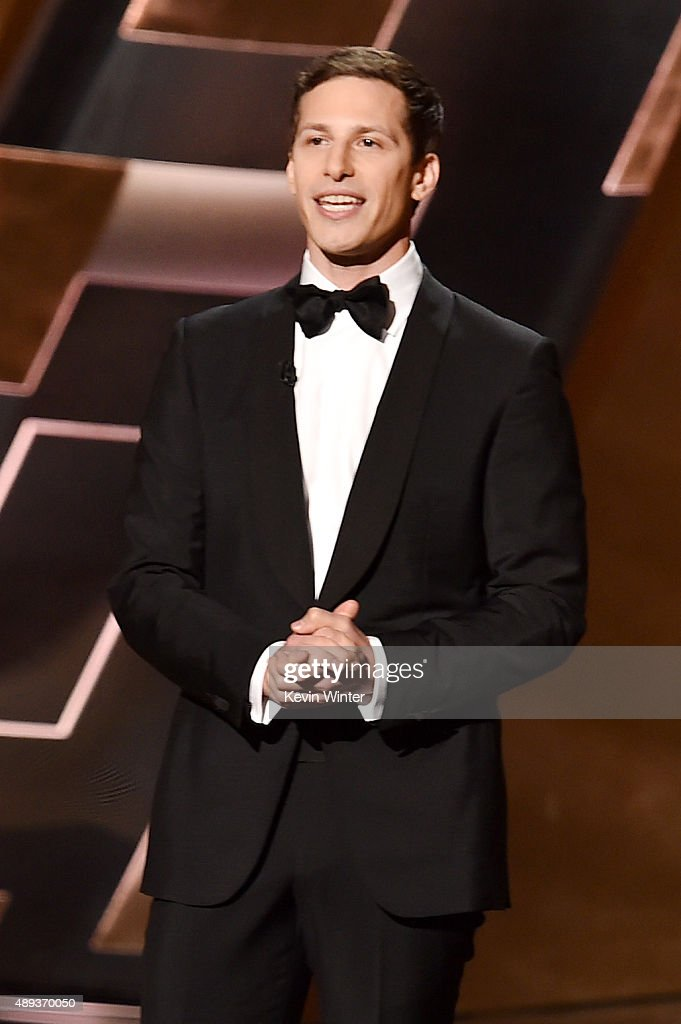 Host <a gi-track='captionPersonalityLinkClicked' href=/galleries/search?phrase=Andy+Samberg&family=editorial&specificpeople=595651 ng-click='$event.stopPropagation()'>Andy Samberg</a> speaks onstage during the 67th Annual Primetime Emmy Awards at Microsoft Theater on September 20, 2015 in Los Angeles, California.