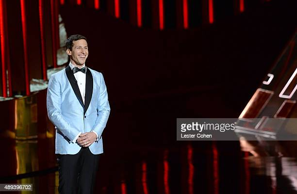 Host Andy Samberg speaks onstage during the 67th Annual Primetime Emmy Awards at Microsoft Theater on September 20 2015 in Los Angeles California