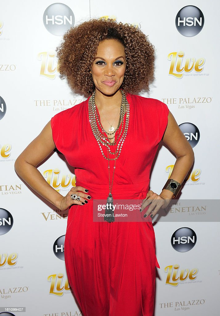 HSN host Anji Corley arrives at the HSN Live Michael Bolton concert at The Venetian Resort Hotel Casino on February 8, 2013 in Las Vegas, Nevada.