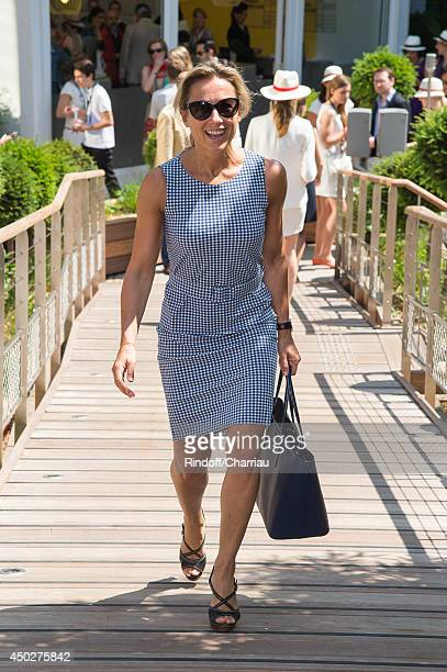 TV host AnneSophie Lapix attends the Roland Garros French Tennis Open 2014 Day 15 at Roland Garros on June 8 2014 in Paris France