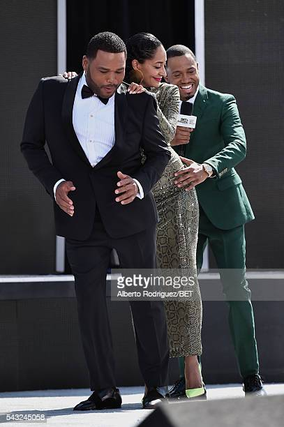 Host Anthony Anderson host Tracee Ellis Ross and host Terrence Jenkins attend the 2016 BET Awards at the Microsoft Theater on June 26 2016 in Los...