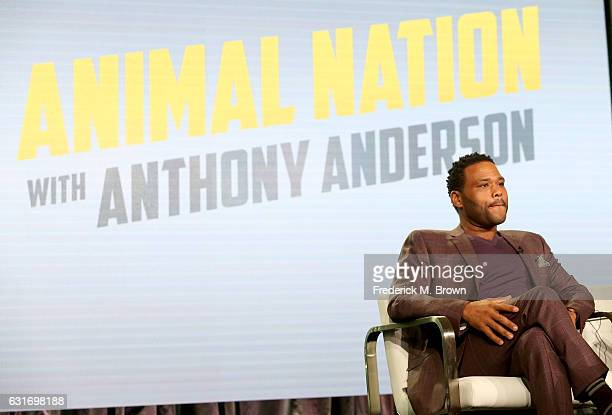 Host Anthony Anderson of 'Animal Nation' speaks onstage during the Animal Planet portion of the 2017 Winter Television Critics Association Press Tour...