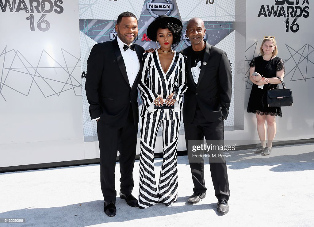 Host <a gi-track='captionPersonalityLinkClicked' href=/galleries/search?phrase=Anthony+Anderson&family=editorial&specificpeople=202577 ng-click='$event.stopPropagation()'>Anthony Anderson</a>, singer <a gi-track='captionPersonalityLinkClicked' href=/galleries/search?phrase=Janelle+Monae&family=editorial&specificpeople=715847 ng-click='$event.stopPropagation()'>Janelle Monae</a> and Specials President Stephen G. Hill attend the 2016 BET Awards at the Microsoft Theater on June 26, 2016 in Los Angeles, California.