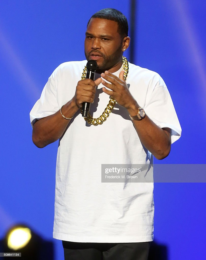 Host <a gi-track='captionPersonalityLinkClicked' href=/galleries/search?phrase=Anthony+Anderson&family=editorial&specificpeople=202577 ng-click='$event.stopPropagation()'>Anthony Anderson</a> speaks onstage during the 47th NAACP Image Awards presented by TV One at Pasadena Civic Auditorium on February 5, 2016 in Pasadena, California.