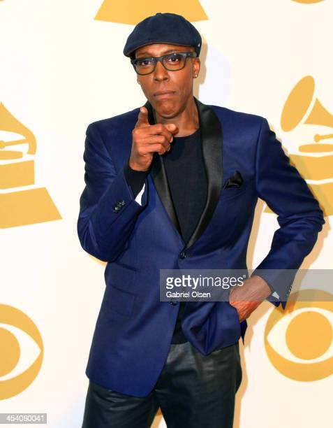 TV host Arsenio Hall poses in the press room during The GRAMMY Nominations Concert Live Countdown To Music's Biggest Night at Nokia Theatre LA Live...