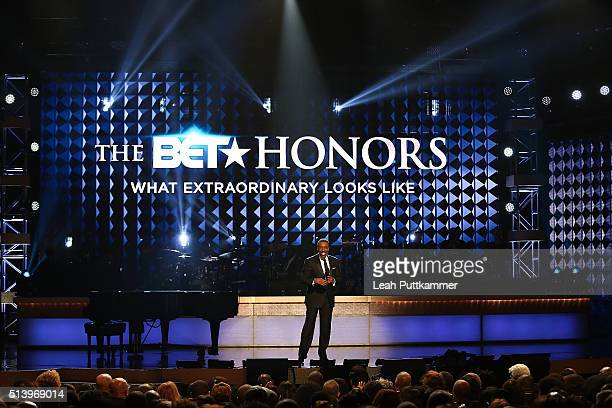 Host Arsenio Hall speaks on stage at the BET Honors 2016 at Warner Theatre on March 5 2016 in Washington DC