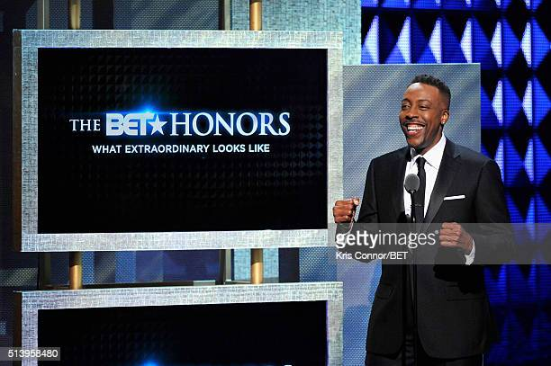 Host Arsenio Hall speaks on stage during the BET Honors 2016 Show at Warner Theatre on March 5 2016 in Washington DC